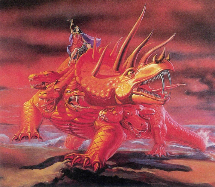 The harlot riding on the scarlet beast.